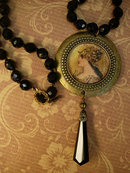Minerva Goddess necklace Black glass necklace with antique black pendant costume jewelry