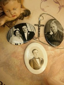 Estate Family portraits with Wedding necklace and sterling crucifix