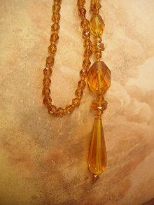 Vintage Flapper deco necklace golden topaz glass long beads Hand cut czech glass lariat bookpiece