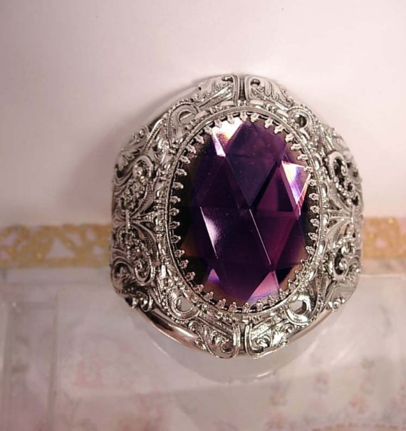 HUGE Gothic Amethyst GLass medieval Bracelet Fit for a DIVA
