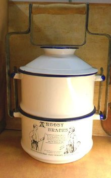 Antique advertising Enamel Lunch Pail miners lunchbox stackable with handle Argocy braces