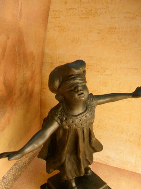 Vintage Bronze Blindfolded child statue G. Ferrari Italian 20th century Guess the Young Child playing hide and seek