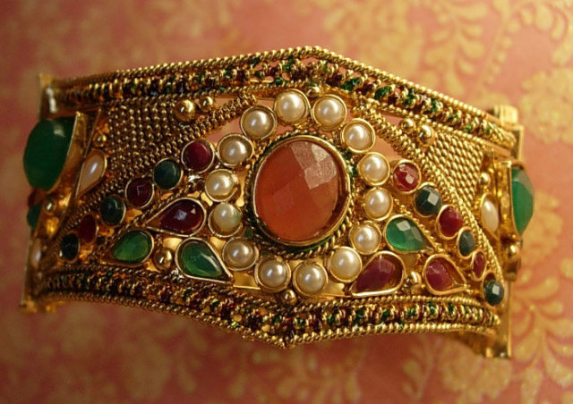 Ornate Gypsy Bracelet loaded with stones and metalwork