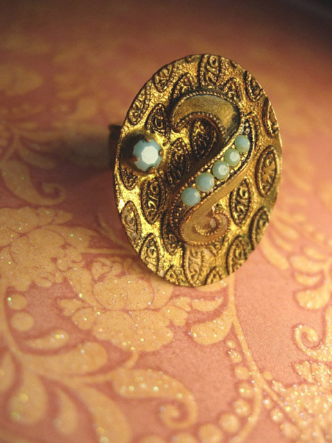 Vintage VIctorian Turquoise and BRass Medieval shield Ring