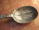 Victorian Hallmarked Enamel sterling Spoon nut spoon fabulous markings 1892 Bishton's Ltd