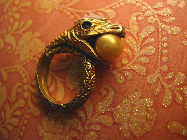 Bizarre Vintage SNake ring with dragons breath and pearl jewels coiled serpent costume ring