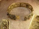 ANtique signed Czech jeweled bracelet with intricate filigree bangle late 1800s pre napier