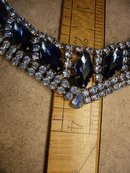 HUge vintage Blue Rhinestone Bib collar necklace