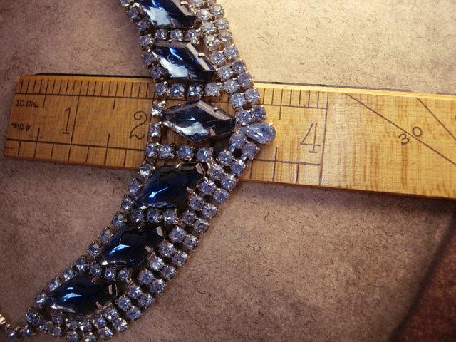 HUge vintage Blue Rhinestone Bib collar necklace
