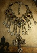 Vintage Gypsy festoon necklace Religious Goth Goddess cross medieval celestial coins