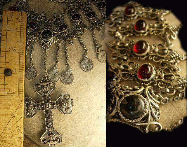 Vintage Gypsy festoon necklace Religious Goth Goddess cross medieval celestial coins