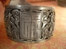 ANtique HUGE sterling buckle bracelet Chinese figures and symbols signed