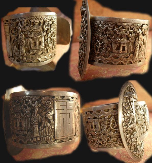 ANtique HUGE sterling buckle bracelet Chinese figures and symbols signed