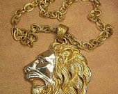 Vintage HUGE lion head necklace statement necklace