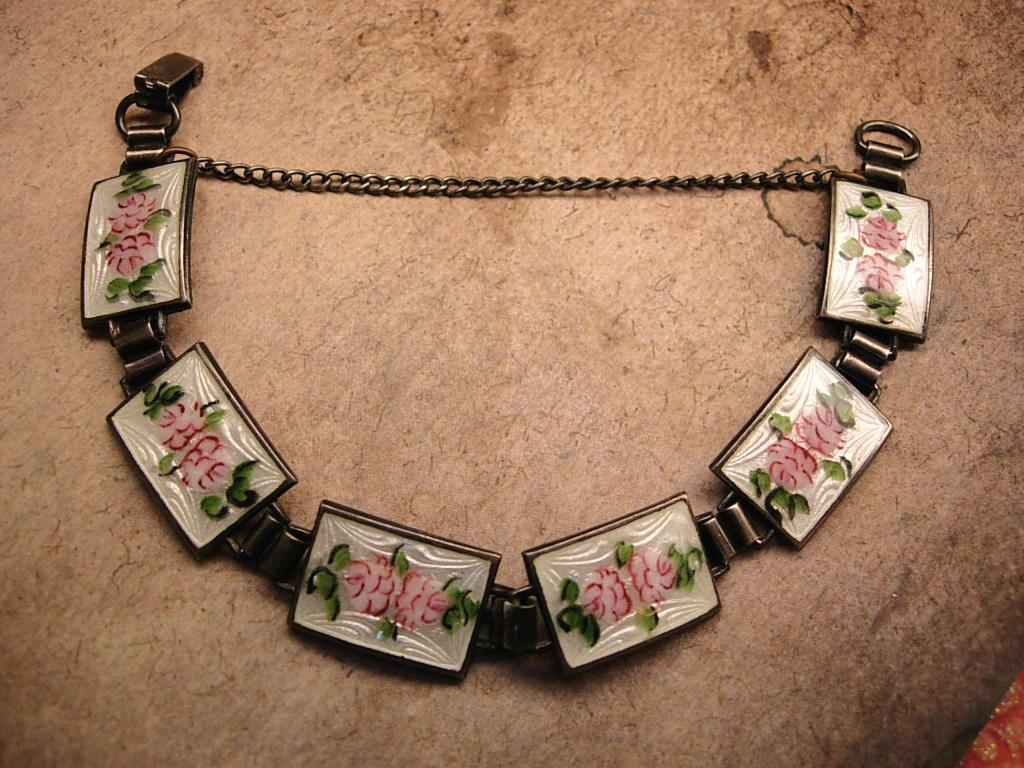 Antique Art Deco sterling Guilloche Enamel Pink Roses bracelet