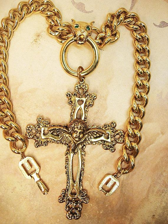 HUGe gothic cross necklace lion head with jeweled eyes