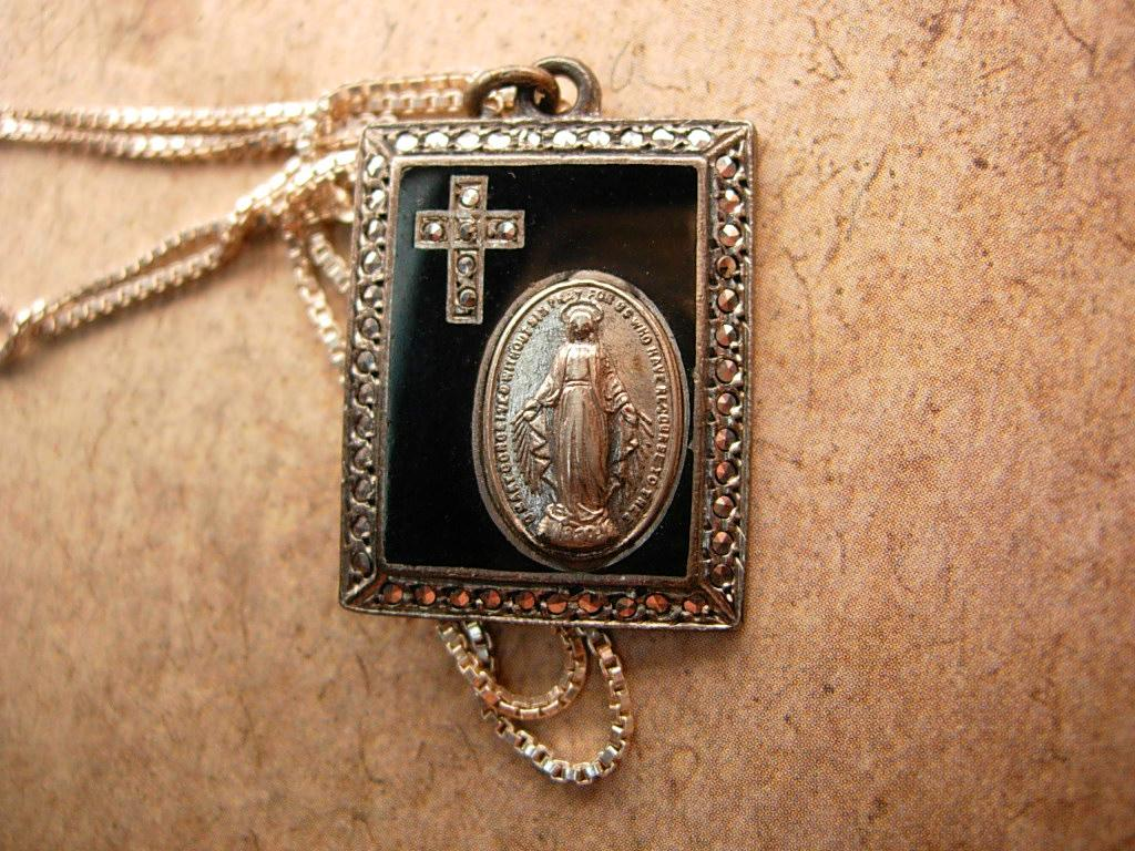 Antique hallmarked Religious miraculous medal sterling necklace and marcasite cross pendant
