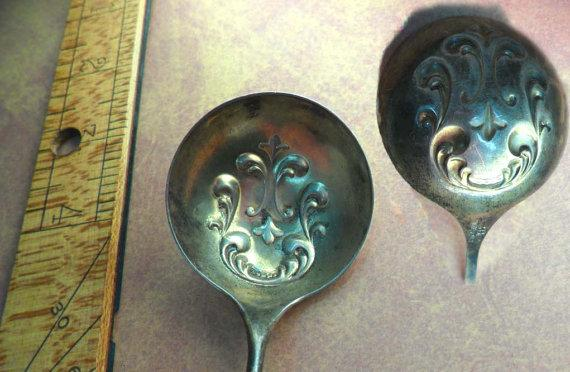 Antique enamel hallmarked silver spoon ladle or nut spoon R. Blackinton & Co