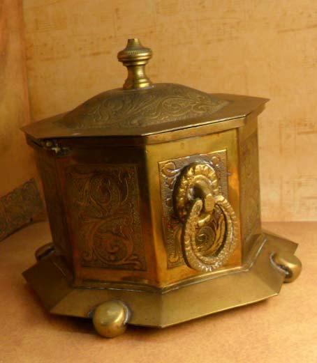 Hallmarked vintage tea caddy hinged lid doorknocker handles