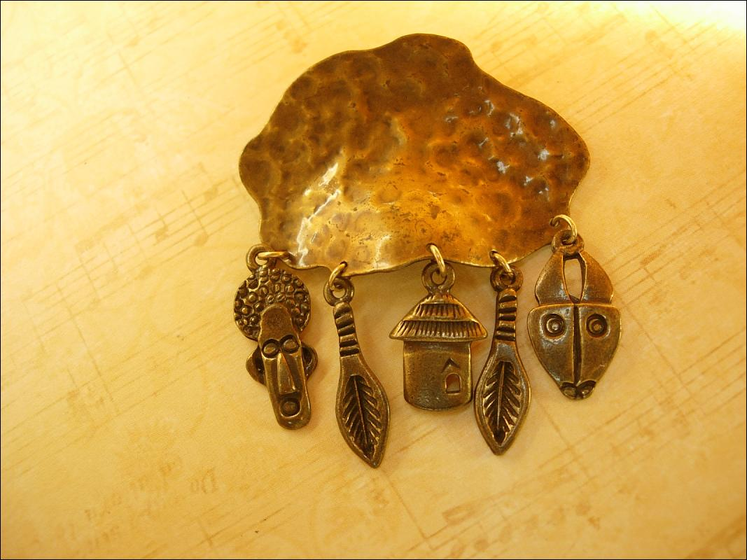 Primitive African Mask charm Brooch