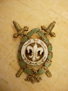 Vintage Enamel Medieval Fleur de lis Crossed swords Brooch