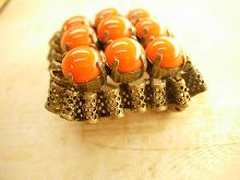 Vintage Fancy Czech Glass Brooch with ornate metal work
