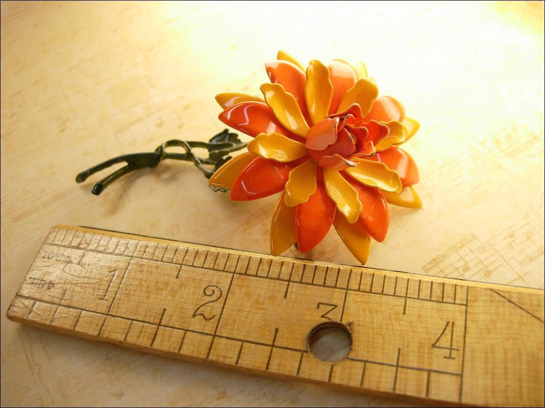 HUge Vintage Enamel Trembler Flower brooch