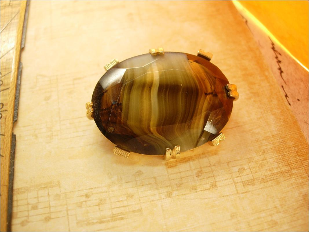 Vintage slag glass brooch brown stripe Glass gold brooch German Brooch