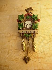 Vintage Signed cuckoo clock Brooch Alpine Alpa