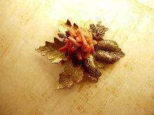 HUGE Vintage Coral Leaf Brooch