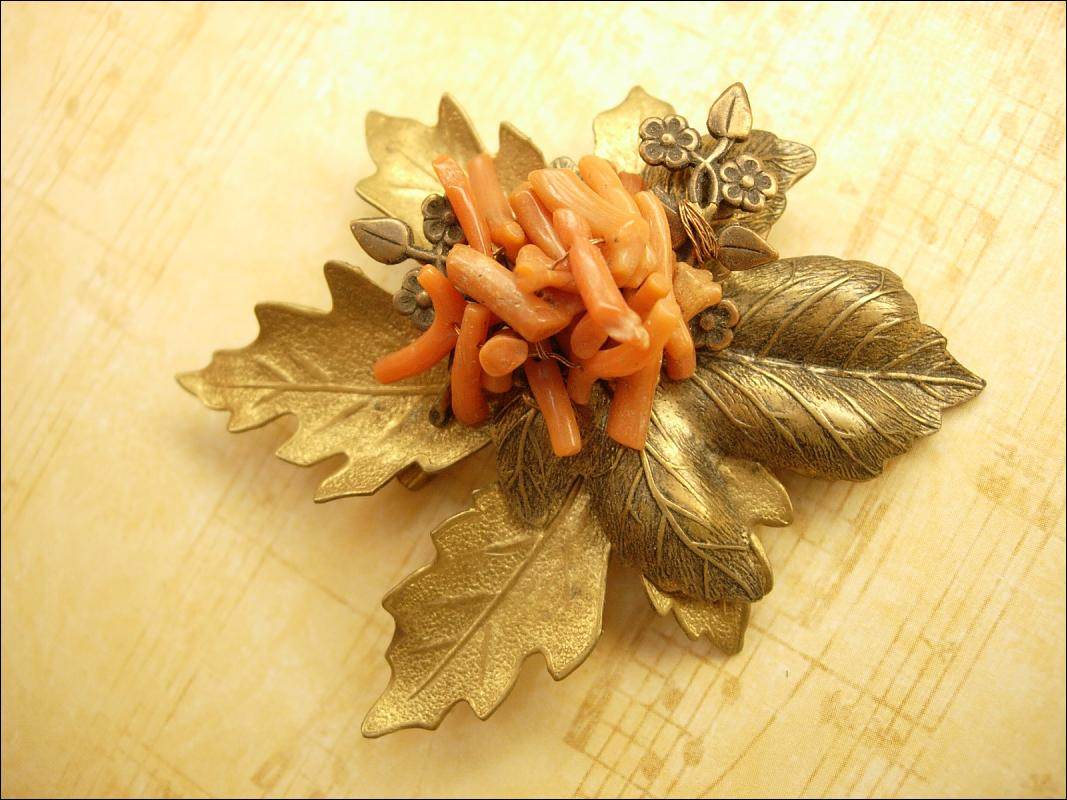 HUGE Vintage Coral Leaf Brooch