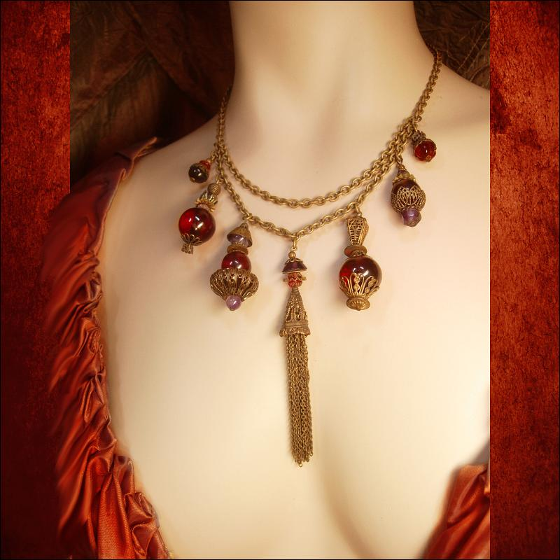 Antique Garnet Red Victorian Fob Czech Necklace Dramatic Brass fringe