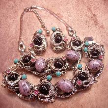 Vintage Dragons Egg Parure Selro Selini Necklace bracelet and earrings