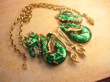 Vintage Enamel HUGE Chinese jeweled eye Dragon Necklace Signed Vendome