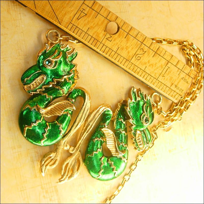 Vintage Enamel HUGE Chinese jeweled eye Dragon Necklace Signed Vendome
