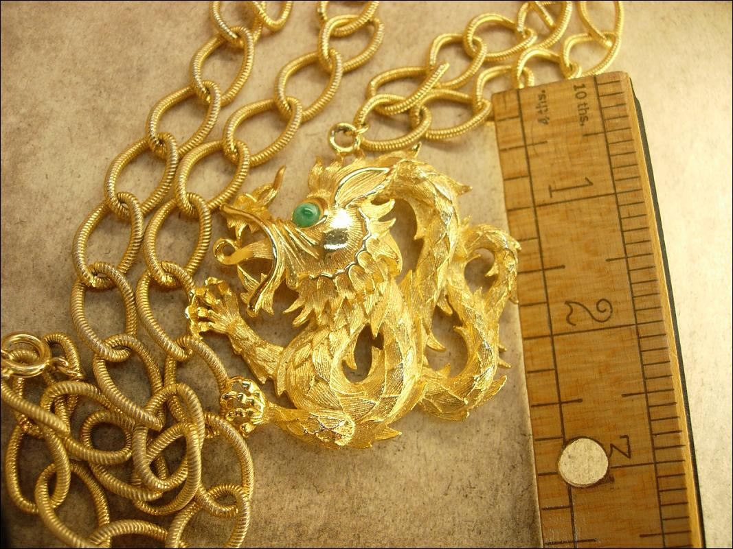 Vintage Signed Green Eyed Dragon huge chinese pendant on long fancy chain Lisner