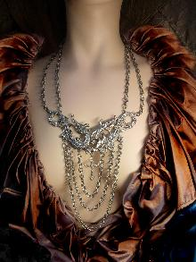 Huge Gothic Dragon medieval cross chandelier necklace statement necklace