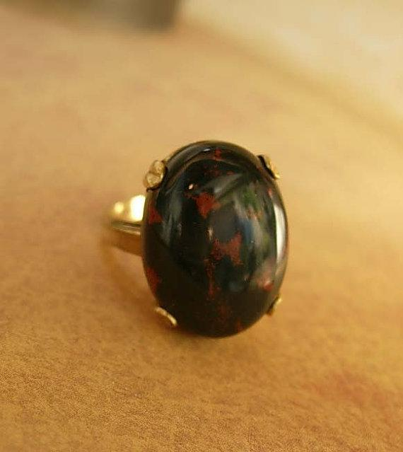 HUge Vintage Bloodstone ring 10kt gf with healing properties