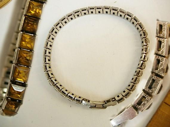 Vintage DECo Sterling citrine bracelet with fancy etchings and paste clasp