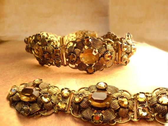 Antique Czech Bracelet golden topaz glass fancy filigree 7 1/2 long Extra long