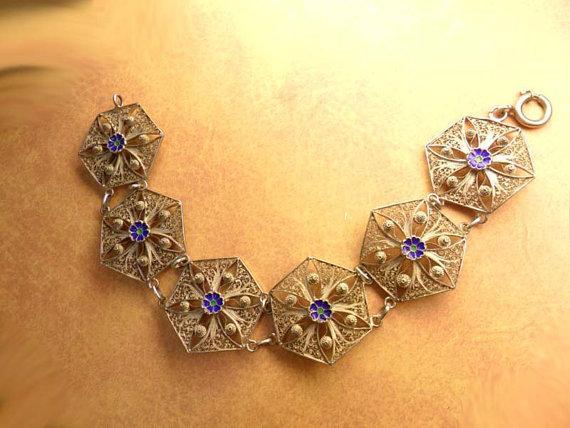 VIntage enamel filigree bracelet 8