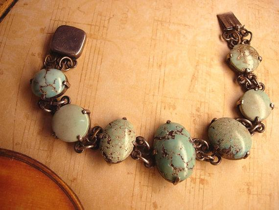 Vintage sterling Burmese Turquoise Indian bracelet with primitive turquoise stones