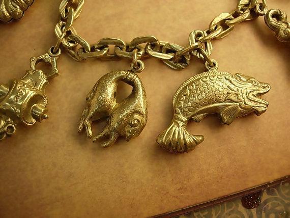 Victorian Charm bracelet Bizarre Unusual Charms Asian renaissance medieval