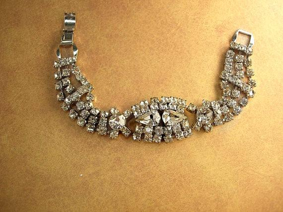 Vintage fancy rhinestone bracelet large tear drop links