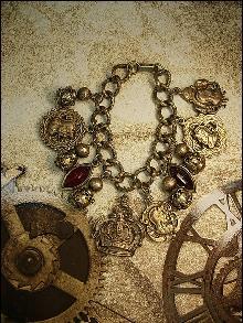 Vintage MEdieval Charm bracelet Knight Fobs Crown Charms rhinestone drops