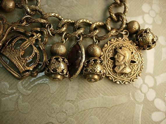 Vintage MEdieval Charm bracelet Knight Fobs Crown Charms rhinestone drops