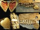 ANtique Rose gold Victorian bracelet Heart locket bracelet mixed metal gold filled charm bracelet