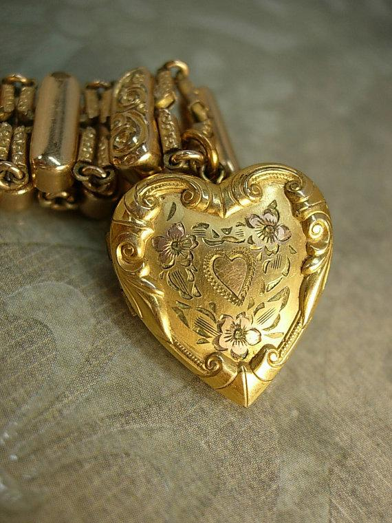 ANtique Rose gold Victorian bracelet Heart locket bracelet mixed metal gold filled charm bracelet