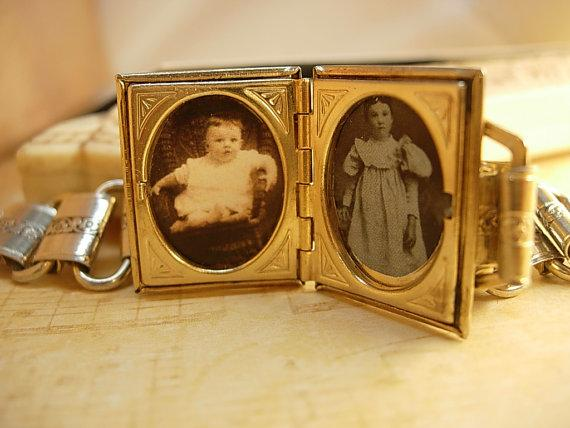 Vintage Bookchain bracelet Locket bracelet with victorian children Purple lava glass top