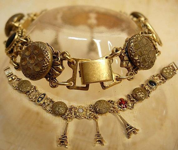 Paris Charm enamel button bracelet